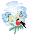 Winter in the village rural landscape with bullfinch on spruce branch Royalty Free Stock Photo