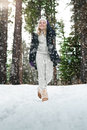 Winter walk portrait of young beautiful woman on outdoor background Stock Photography