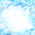 Winter watercolor background. Hand painted frozen frame with white copyspace. Frost texture.