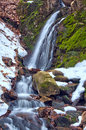 Winter Waterfall and Melting Snow Royalty Free Stock Photo