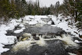 Winter waterfalls on black river near forestport ny in the adirondack mountains Royalty Free Stock Images