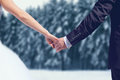 Winter wedding couple bride and groom holding hands over snowy forest background Royalty Free Stock Photo