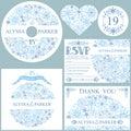 Winter wedding template set.Snowflakes circle Royalty Free Stock Photo