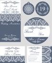 Winter wedding template set.Snowflakes paisley Royalty Free Stock Photo