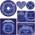 Winter wedding template set.Snowflakes wreath Royalty Free Stock Photo