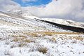 Winter on the welsh mountains snowscene in brecon beacons wales Royalty Free Stock Photos