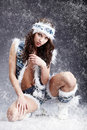 Winter wild woman Royalty Free Stock Photography