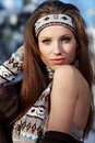 Winter wild woman Royalty Free Stock Images