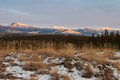 Winter wilderness landscape yukon territory canada early sunset mountains boreal forest taiga of the Stock Images