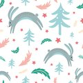 Seamless pattern rabbit bunny forest elements hand drawn coniferous branch Christmas texture vector