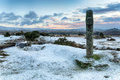 Winter at windy post snow on dartmoor national park in devon Stock Photography