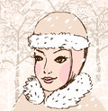 Winter woman Stock Image