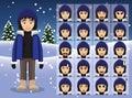 Winter Woman Cartoon Emotion faces Vector Illustration Royalty Free Stock Photo