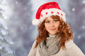 Winter woman with hat santa claus portrait of in snow and of Stock Image