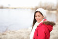 Winter woman portrait outside Stock Images