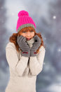 Winter woman portrait of in with snow Royalty Free Stock Photo
