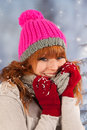 Winter woman portrait of in with snow Royalty Free Stock Photography