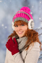 Winter woman portrait of in with snow Stock Photography