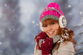 Winter woman portrait of in with snow Royalty Free Stock Images