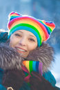 Winter woman in rainbow hat Royalty Free Stock Image