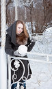 Winter woman snow ball yarn Royalty Free Stock Images