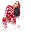 Winter woman on snow in studio beautiful Royalty Free Stock Photo