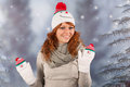 Winter woman with snowman hat portrait of in snow and Stock Photo