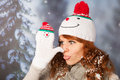 Winter woman with snowman hat Royalty Free Stock Photo