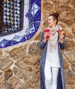 Happy traveller woman at Guell Park at Christmas looking aside Royalty Free Stock Photo