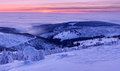 Winter wonderland view of during the sunset time panoramic picture Stock Images