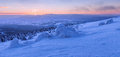 Winter wonderland view of during the sunset time panoramic picture Stock Photography