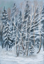 Winter wood trees are filled up by snow on branches of birches hoarfrost Stock Photography