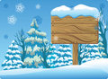 Winter Wooden Signboard Stock Images