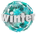 Winter word snowflake snow ball season change in d letters on a of snowflakes or blue and white to illustrate the of seasons at Royalty Free Stock Images