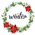 Winter. Wreath of red poinsettia and leaves. Royalty Free Stock Photo