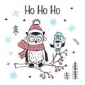 Winter xmas christmas happy new year greeting card with cute funny arctic owl and bird