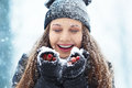 Winter young woman portrait. Beauty Joyful Model Girl laughing and having fun in winter park. Beautiful young woman Royalty Free Stock Photo