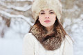 Winter young woman portrait outdoor beauty outdoors Royalty Free Stock Image