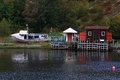 Winterized fishing dock and cabins in quidi vidi harbor newfoundland the early october beginning of the fall already boat cabines Royalty Free Stock Photos