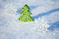 Winters background christmas tree on snow christmas card Stock Photo