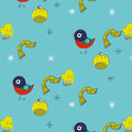 Winters motifs with birds in the blue background Royalty Free Stock Photography
