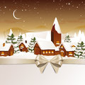 Winterscene christmas card illustration of santa claus coming to city Royalty Free Stock Image