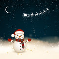 Winterscene christmas card illustration of a small snowman in a winter landscape Stock Photos