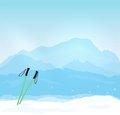 Wintersports in france vector concept with mont blanc silhouette Royalty Free Stock Photography