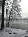 Wintertime lake liepnitzsee in winter germany Stock Images
