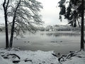 Wintertime lake liepnitzsee in winter germany Stock Photography