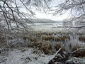 Wintertime lake liepnitzsee in winter germany Stock Photo