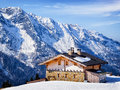 Wintertime old house at the european alps in winter Royalty Free Stock Photography