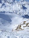 Wintertime snow mountains in austria soelden skiing landscape blue sky Royalty Free Stock Images