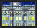 Wintertime when it snows vintage illustration nostalgic view of a historic townhouse at night Stock Photos